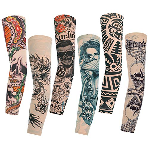 Konsait 6 Stück Tattoo Ärmel Tattoo Armstrumpf Arm Tattoo Strumpf Unisex Nylon Temporäre Tattoos Arm Tätowierung Armstrümpfe Tattoo Ärmel Sleeve für Karneval Fasching Party