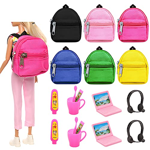 BARWA 18 Pcs Doll Travel Accessories 6 Doll Backpack Bag with Zipper with 2 Computers 8 Pcs Toothbrushing Sets 2 Sunglasses 2 headsets for 11.5 inch Doll