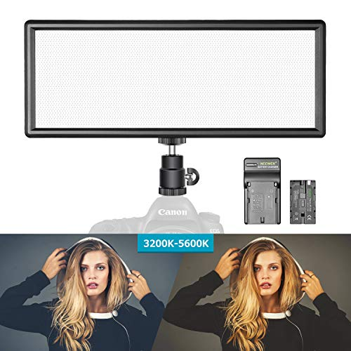 Neewer Luz Regulable LED Super Fino Bi-Color con Pantalla LCD 2600mAh Batería de Li-Ion y Cargador - Panel LED de Ultra Alta Potencia 3200K-5500K para Cámara Foto Estudio Video