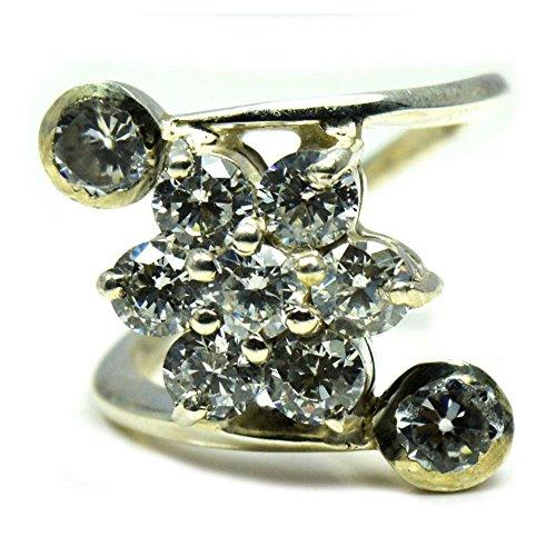 CaratYogi White Cubic Zircon Round Ring Women's Silver Handmade Stylish Jewelry Size J K L M N O P