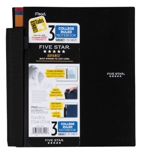 Five Star Notebook, 3-Subject, College Ruled, 150 Sheets, 8-1/2 x 11 Inches, Assorted (8190)
