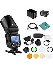 Godox V1C Flash de cámara Speedlite Speedlight Cabeza Redonda inalámbrica 2.4G Fresnel Zoom + Godox AK-R1 Kit de Accesorios de luz de Bolsillo compatible con Canon EOS Series para Boda
