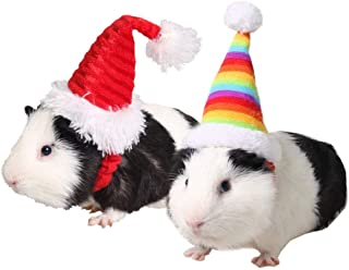 ASOCEA 2 PCS Small Pet Holiday Elastic Hat Hamster Kitty Santa Hat Headwear Costume Collection Pet Accessory for Small Dog...