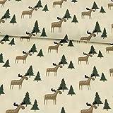 Baumwolljersey Elche & Tannenbäume natur Weihnachtsstoffe