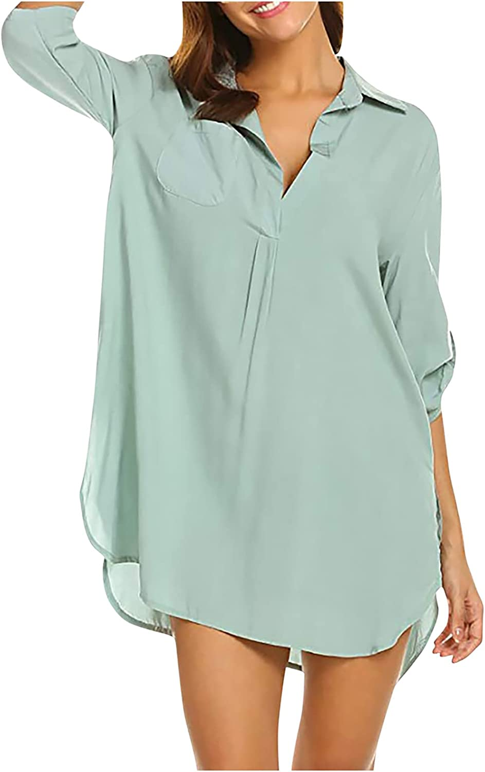 5665 Womens V Neck Tshirt Dresses, Lapel Rolled 3/4 Sleeve Sexy Deep V Neck Casual Side Slit Plus Size Summer Beach Coverup
