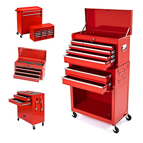 8-Drawer Rolling Tool Box Rolling Tool Chest with Wheels and Drawers Toolbox Organizer Tool Storage with Locking System for Garage Workshop (Red)