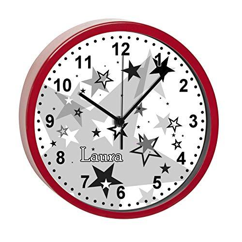 CreaDesign, WU-32-1030-31 Sterne Schwarz, Wanduhr Kinder ohne tickgeräusche mit Namen personalisiert, Rahmen rot, Ø 19,5 cm
