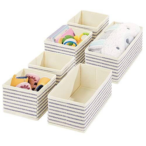 mDesign Fabric Dresser Drawer and Closet Storage Organizers for Child/Kids Room, Nursery, Playroom - Holds Boys, Girls, Baby Clothes, Onesies, Diapers, Wipes - Textured Print, 2 Pack - Linen/Blue