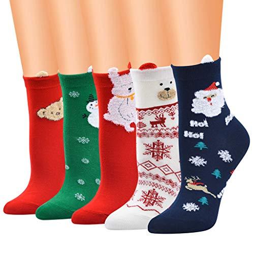 Tensay 5 Pairs Weihnachten Weihnachtsmann Niedlichen Hund Lässige Arbeit Business Socken 3D Druck Medium Sportsocken Anzug für Weihnachten Kostüm