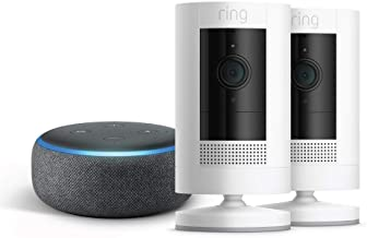 All-new Ring Stick Up Cam Battery 2-Pack with Echo Dot (Charcoal)