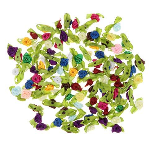 FLAMEER 100pcs Künstliche Satinrosen Stoffrosen Rosenköpfe Streublumen für Basteln und Dekoration