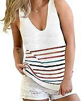 Kinlonsair Women's V-Neck Sleeveless Sweater Vest Stripe Knit Tank Tops Casual Camis Loose Blouses Shirts White