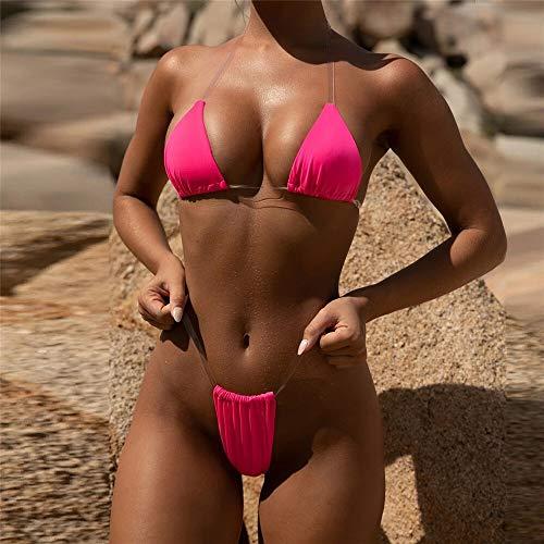8 Kleuren Micro Bikini Vrouwen Zwembroek 2019 New Sexy String Bikini Transparante Strapes Vrouwen Zwembroek badpak Hot Swim biquini (Color : H Rose Red, Size : L)