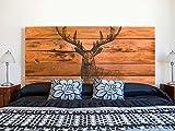 Kopfteil Bett PVC Hirsch auf braunem Holzimitat