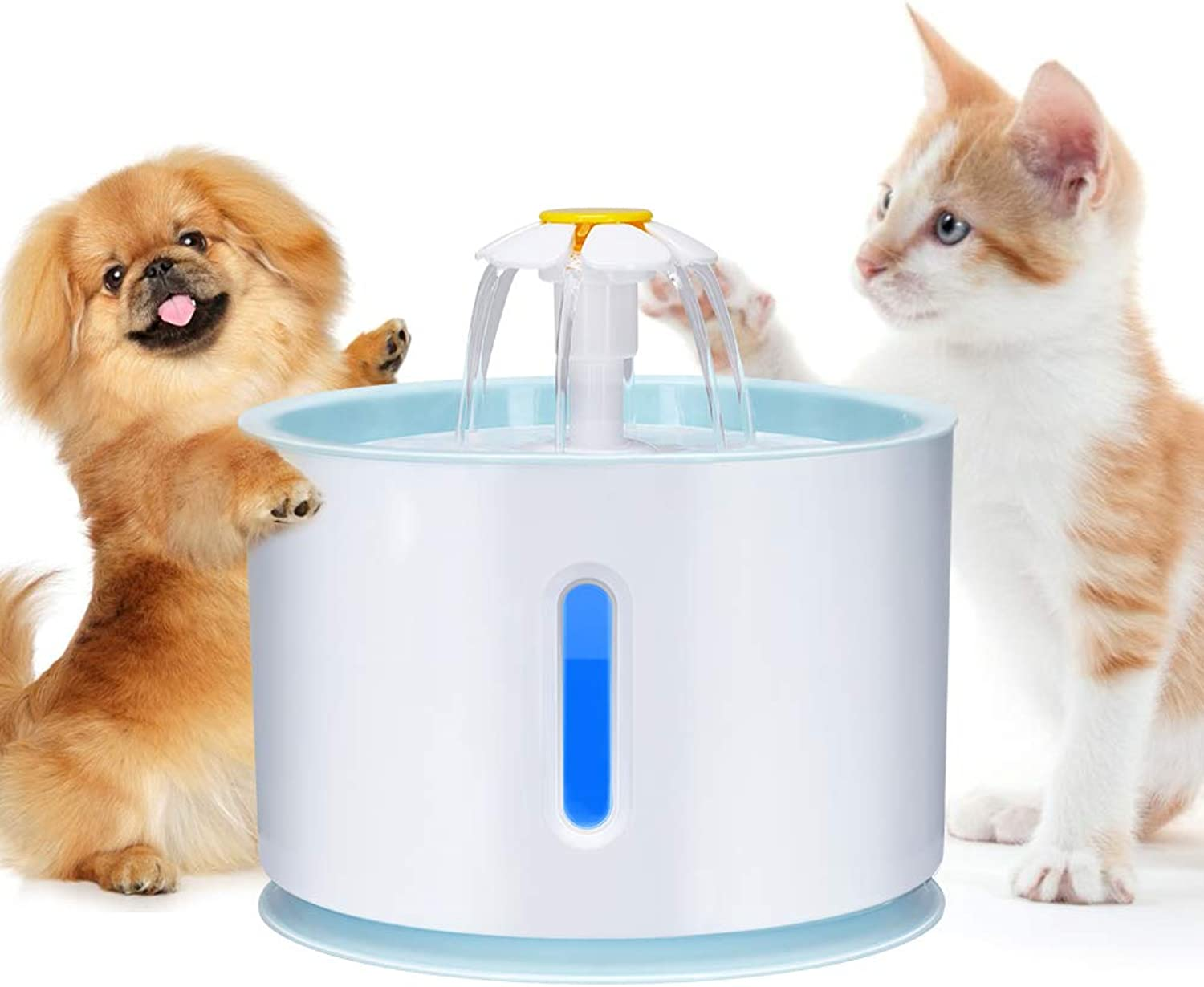 Haofy Fountain for Cats and Dogs Flowers with Filter and LED Lights, Silent Water Pump with 2.4L Filter, Water Pump, UltraQuiet Water Pump