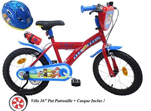 Eden Bikes - Bicicletta da bambino, 40,6 cm, motivo: Paw Patrol con 2 freni PB/Bidon AR + casco da bicicletta per bambini, multicolore, 16''