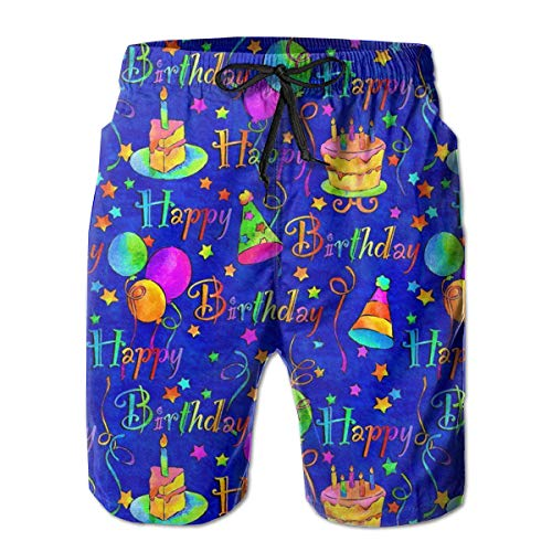XUJ YOGA Happy Birthday Blue Cake Men Swim Trunks Drawstring Elastic Waist Surfing Beach Board Shorts