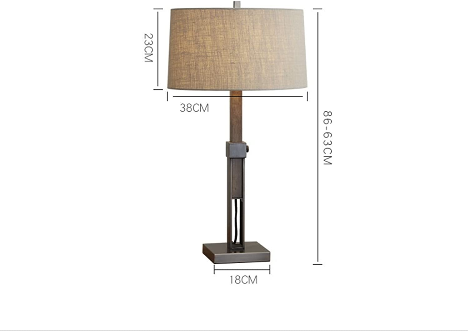 American Country Table Lamp, Metal Log Living Room Bedroom Bedside Lamp European Style Simple Modern Nordic Power Switch Button E27  1 Energy Saving and Environmental Predection Modern, ChuanHan