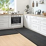 Color&Geometry Juego de 2 Piezas de Alfombra Cocina Lavable Antideslizante,alfombras Cocina 44x75cm+44x200cm,alfombras para Cocina Adecuada para pasillos,entradas,manteles Individuales.(Negro)