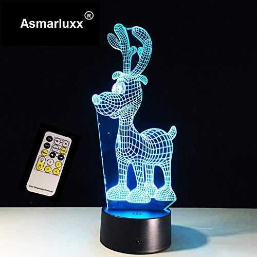 Deer Nachtlicht Farbwechsel Fernbedienung Touch-Switch-Tabelle Weihnachten Hirsch als Geschenk für die Geschenkfarbe des Kindes
