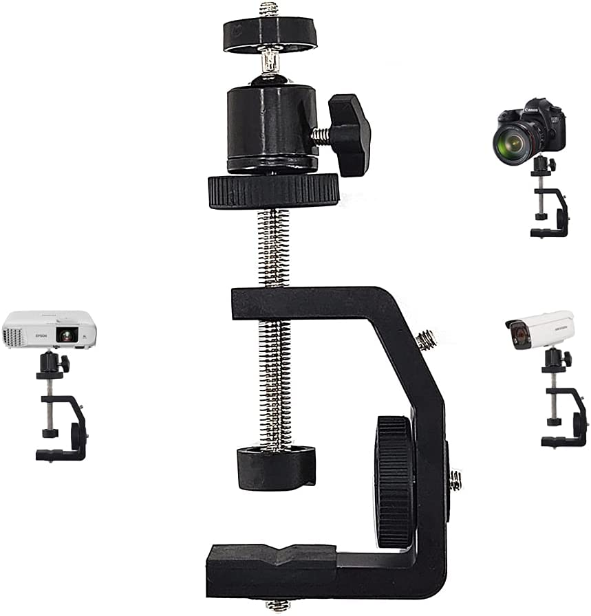 2-Be-Best Camera Mount Desk Clamp Mini Projector Mount Ball Head with C Clamp Adjustable 360 Degree Rotating Head 1/4 Screw Compatible with Camera Projector Canon Nikon DSLR Monitor LED Lights Phone