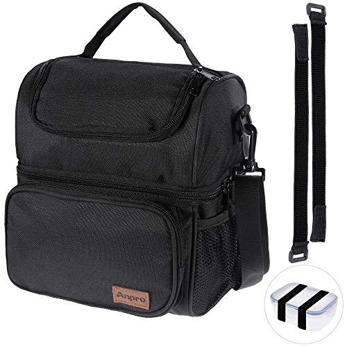 Anpro Lunch Tasche, Kühltasche - Lunch Bag Thermotasche Eistasche Picknicktasche Mittagessen Tasche mit 2 geräumigen Fächern Tragetasche Wasserdicht für Arbeit, Schule, Ausflug, 8L Schwarz