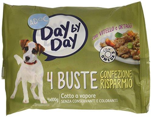 Adoc Day By Day - Alimento completo per Cani Adulti con Vitello e Ortaggi, 40 bustine da 85gr