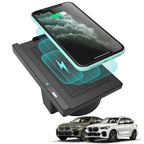 Braveking1 Cargador Inalámbrico Coche para BMW X5 X6 2018 2017 2016 2015 2014 Consola Central Accesorios Panel, 10W Qi Carga Rápida Auto Teléfono Cargador para iPhone 11 XS XR X Samsung S20 S10 S9 S8