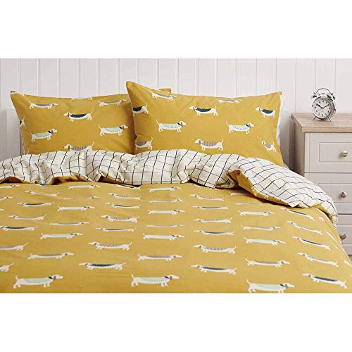 wilko Check Sausage Dog Double Duvet Cover (200 x 200cm), Reversible Polycotton Duvet Cover Set with Check and Dog Print, Matching Pillowcases