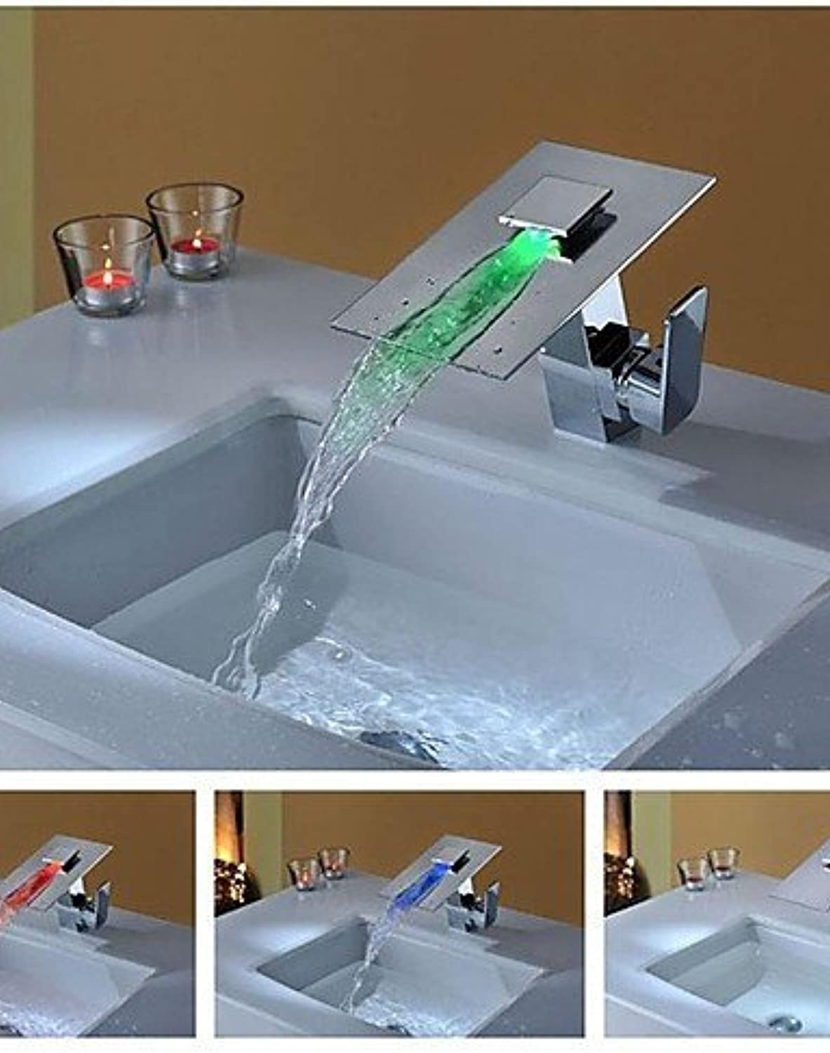Charmingwater LED   Waterfall Contemporary Chrome Brass Centerset