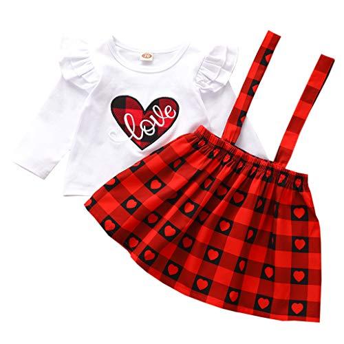 Kleinkind Kinder Outfits Set Baby Mädchen Zweiteilig Anzug Valentinstag Herz Tops T-Shirts Plaid Röcke Karierter Trägerrock Outfits Kleidung, Rot, 18-24 Monate