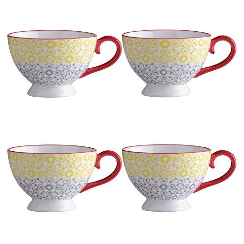 Bia Lot de 4 Jasmin Espresso Cups-Yellow/Rouge, Porcelaine, Multicolore, 11.5 x 9 x 6 cm