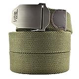 Cinturón de Meta-U, unisex, con correa de lona y hebilla de metal verde Ejercito Verde talla única