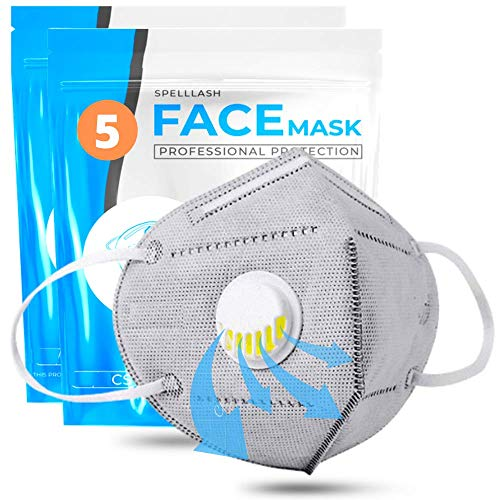 Face Mask with Breathing-Valve 5 Pack | Breathable Face Mask for Women and Men Anti-irritant | Sports Face Masks Lightweight & Comfortable on Skin