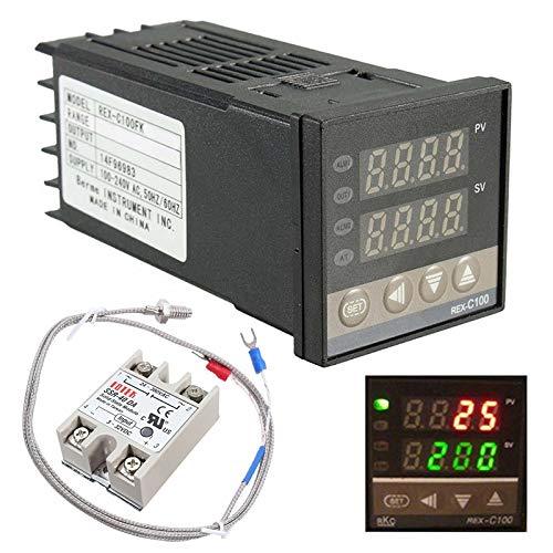 Digitaler Temperaturregler Temperatur Regler Temperature Controller Thermostat Thermoelement+Halbleiterrelais+Temperaturfühler 1 Meter 1300℃