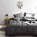 karever Striped Duvet Cover Set Black and White Vertical Bedding Pinstripe Pattern Printed Cotton with Zipper Closure 3 PCS Queen Size