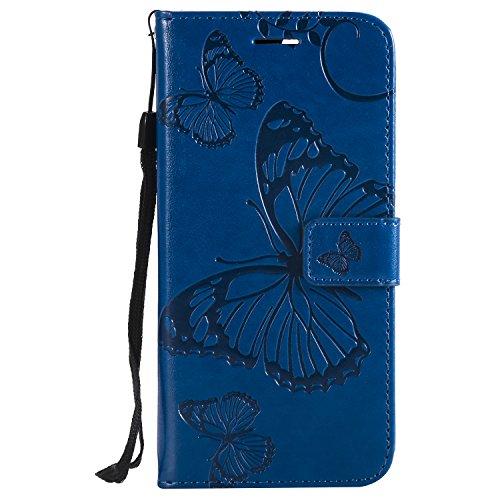 Lomogo Huawei P Smart Hülle Leder, Schutzhülle Schmetterling Brieftasche mit Kartenfach Klappbar Magnetverschluss Stoßfest Kratzfest Handyhülle Case für Huawei P Smart - LOKTU21827 Blau
