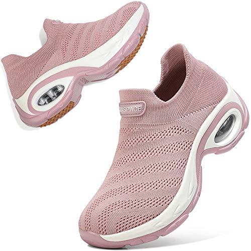 Sixspace Zapatos de senderismo para mujer – Calcetín zapatillas sin cordones para mujer, rosa (Rosa/Rebel Fun.), 40 EU