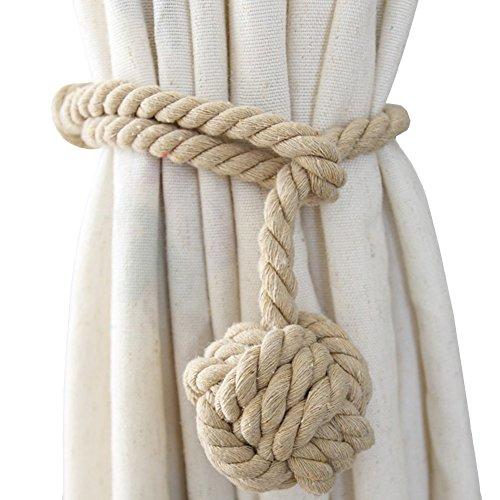 APIPI 4 Pcs Natural Cotton Curtain Tiebacks Curtain Decorative Holdbacks for Rural Style Drapery Tieback Village Style Curtain Holdback Rope