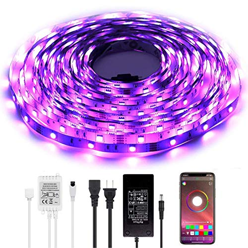 Led Lights with App, Bluetooth Led Lights, BAILONGJU LED Lights That sync with Music 32.8ft 300leds 10m Non-Waterproof RGB Color Changing SMD 5050 Adhesive Light Strips with Bluetooth Smartphone App