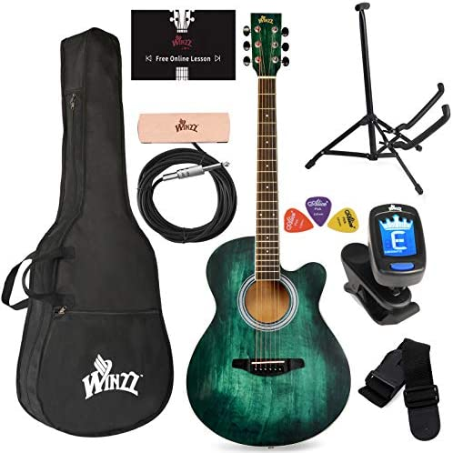 WINZZ 40 Inches Cutaway Acoustic Guitar Beginner Starter Bundle with Online Lessons Padded Bag product image
