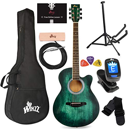 WINZZ 40 Inches Cutaway Acoustic Guitar Beginner Starter Bundle with Online Lessons, Padded Bag, Stand, Tuner, Pickup, Strap, Picks, Dark Hunter Green