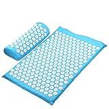 JSBAN Massager Cojín Masaje Yoga Mat Acupressure Aliviar el estrés Barrio Cuerpo Dolor Spike Mat Mat Acupuntura Mat (Color : L Blue Set no Bag)