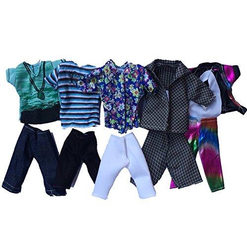 Xiton Ken Barbie Kleidung, 5pcs Sommer Sport Fashion T-Shirts und Shorts für Freund Barbie-Puppe Zufällige Stil