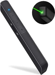 Dinofire Presentation Clicker Green Laser Pointer USB Rechargeable Wireless Presenter PowerPoint Clicker Hyperlink Presentation Remote Control Slide Advancer RF 2.4GHz For Keynote / Mac / PC / Laptop