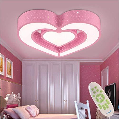 XinZe LED Deckenleuchte Kinderzimmer Lampe Dimmbar Mit Fernbedienung Deckenlampe Kreative Warm Romantisch Designer Kronleuchter Herzform Acryl Schlafzimmer Decken Leuchte,Rosa,55cm
