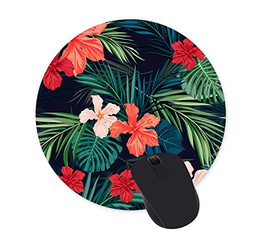 Tropical Flowers Round Mouse Pad Custom Design Gaming Mouse Pad