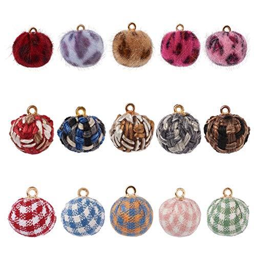 PandaHall 90 piezas de tela con pompones de piel con diseño de pompones metálicos, varios estilos, para pendientes, joyas, accesorios