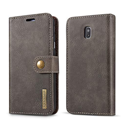 NOLOGO Caso proctive Caja del teléfono del Cuero del tirón del teléfono del Caso for Samsung Galaxy J730, for la Cubierta de Samsung J730 Retro Tarjeta Ranura del teléfono (Color : Gray)