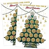 Kesote 2 Fogli di Calendario d'Avvento di Natale Etichette Adesive Gratta e Vinci Biglietti di Gratta e Vinvi a Forma di Albero di Natale Natalizie Ettichette per Calendario d'Avvento Fai da Te
